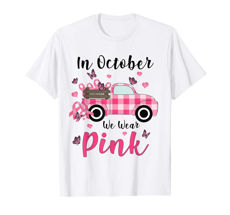 Breast Cancer Awareness Cute Truck Riding Pink Ribbons Shirts