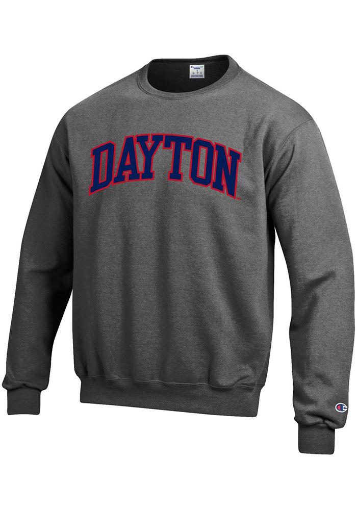 Champion Dayton Flyers Mens Grey Arch Crew Grey 50 50 Shirts