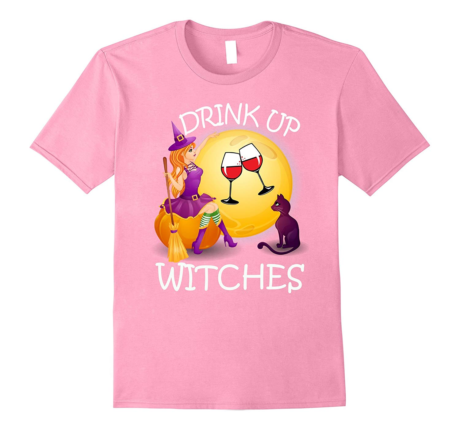 Drink Up Witches Halloween Wine Cat Funny Shirts