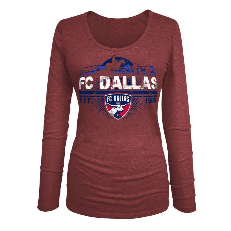 Dallas 5th Ocean By New Era Women S Tri Blend U Neck Red Shirts
