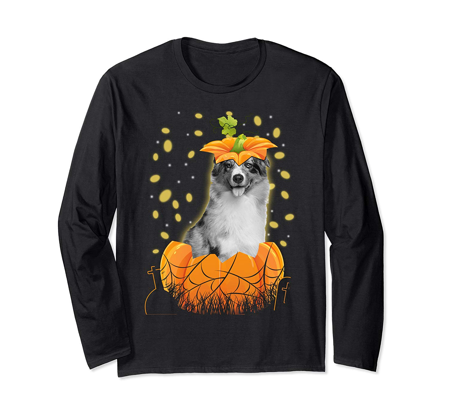 Halloween Australian Shepherd Dog In Pumpkin Gift 2019 Shirts