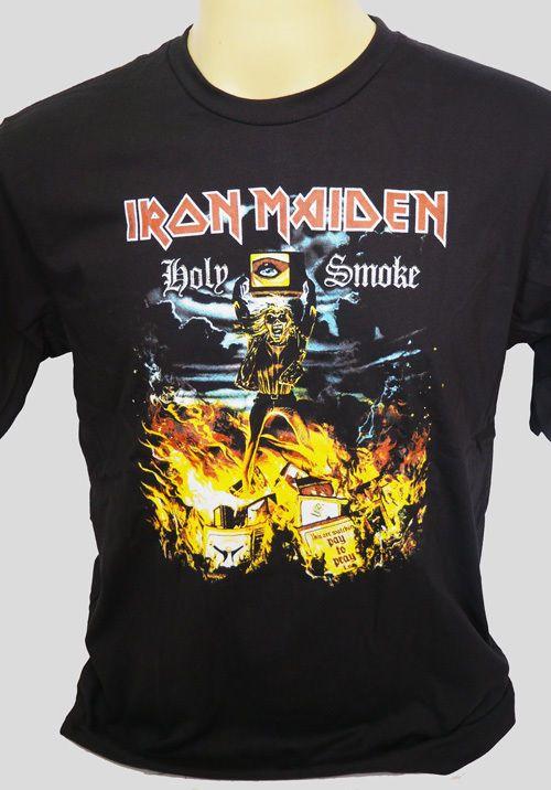 Iron Maiden Holy Smoke Metal Rock Band Vintage Remake Black S Shirts
