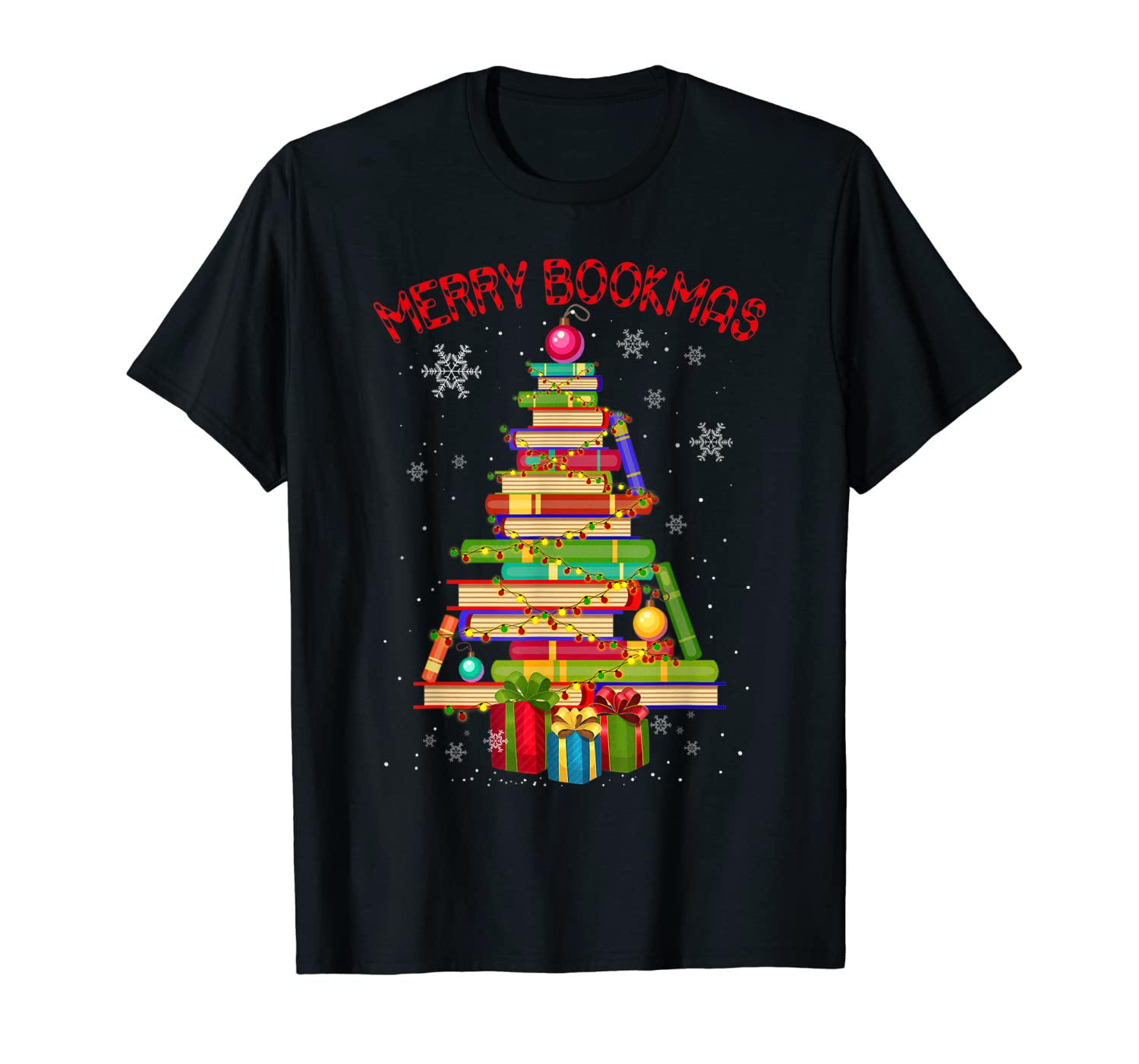 Merry Bookmas Books Pine Tree Funny Reading Lover Christmas Shirts