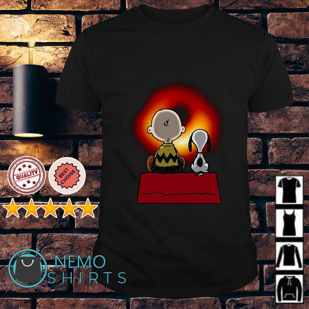Snoopy And Charlie Brown Watching Cosmic Black Hole Shirts