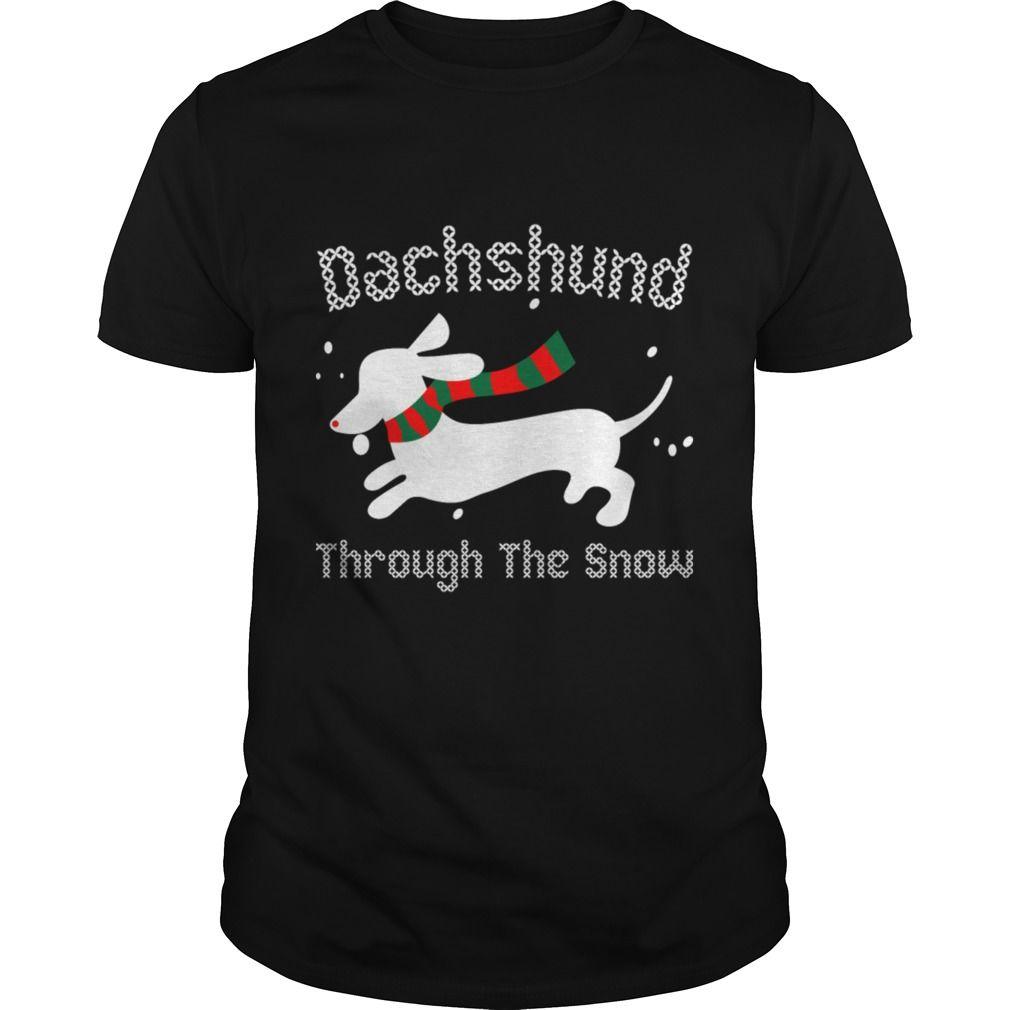 Soloha Dachshund Through The Snow Christmas Ugly Sweater Papa Mama Dogs Lovers S Shirts