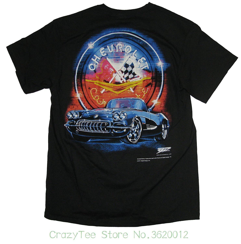 Discount 100 For Men S Corvette Neon 1958 Corvette Shi Shirts