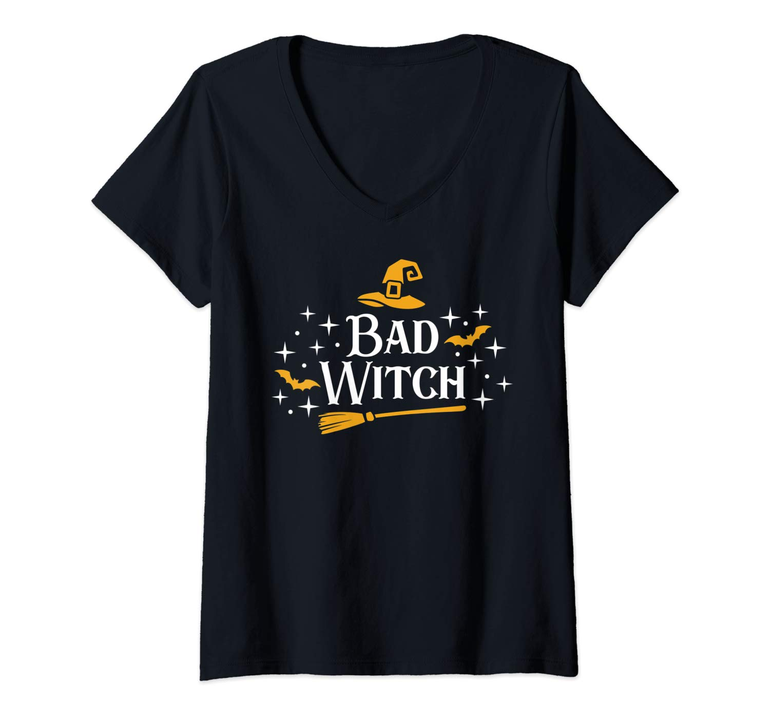 Bad Witch Spooky Party Broomstick Bats Hat Funny Shirts