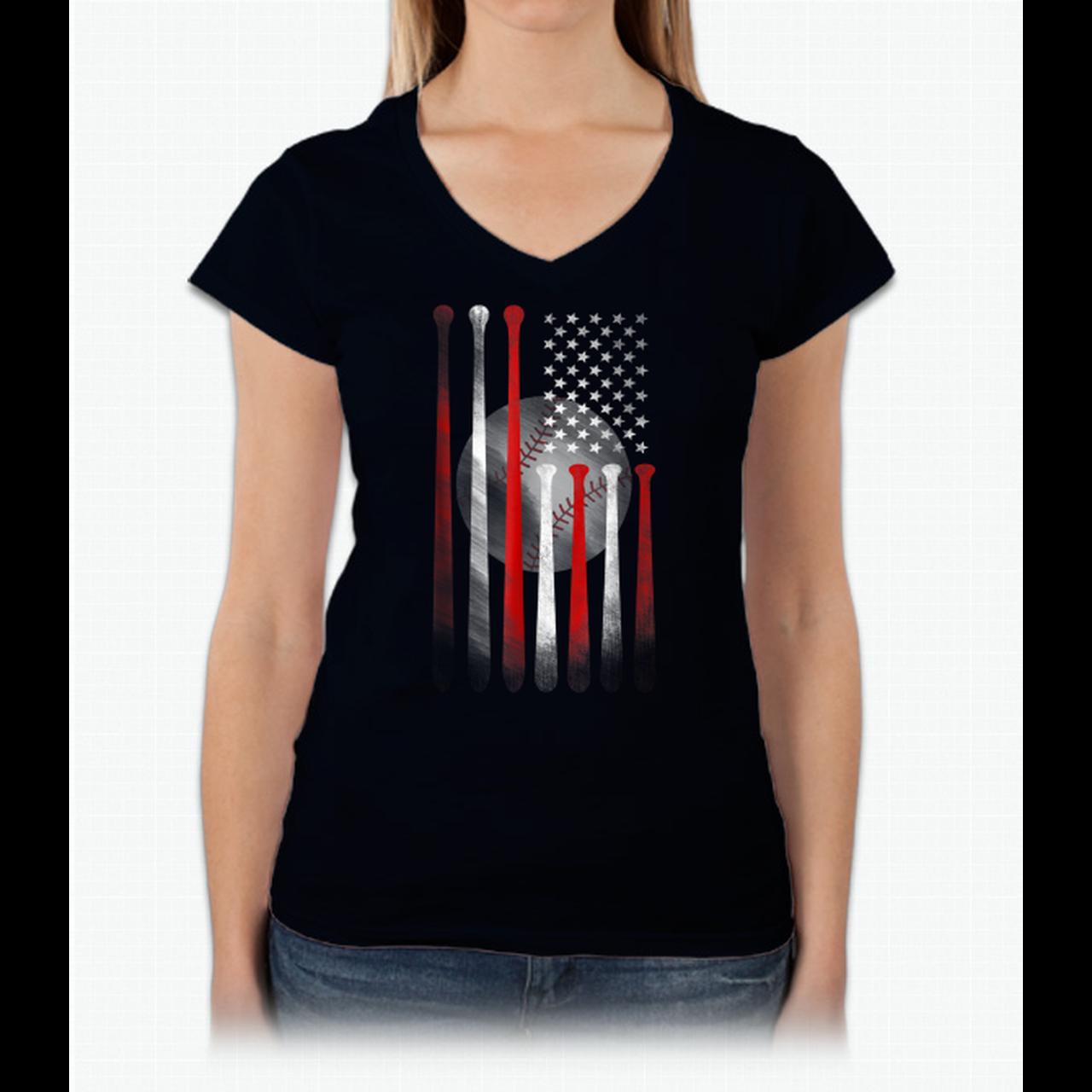 American Flag Vintage Baseball Flag T Shirt Dad Mom Tee 660614119
