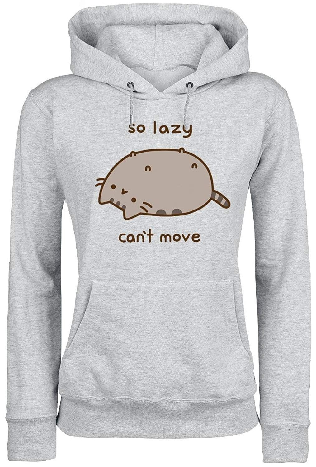 Pusheen So Lazy Cant Move Grey Pullover Shirts