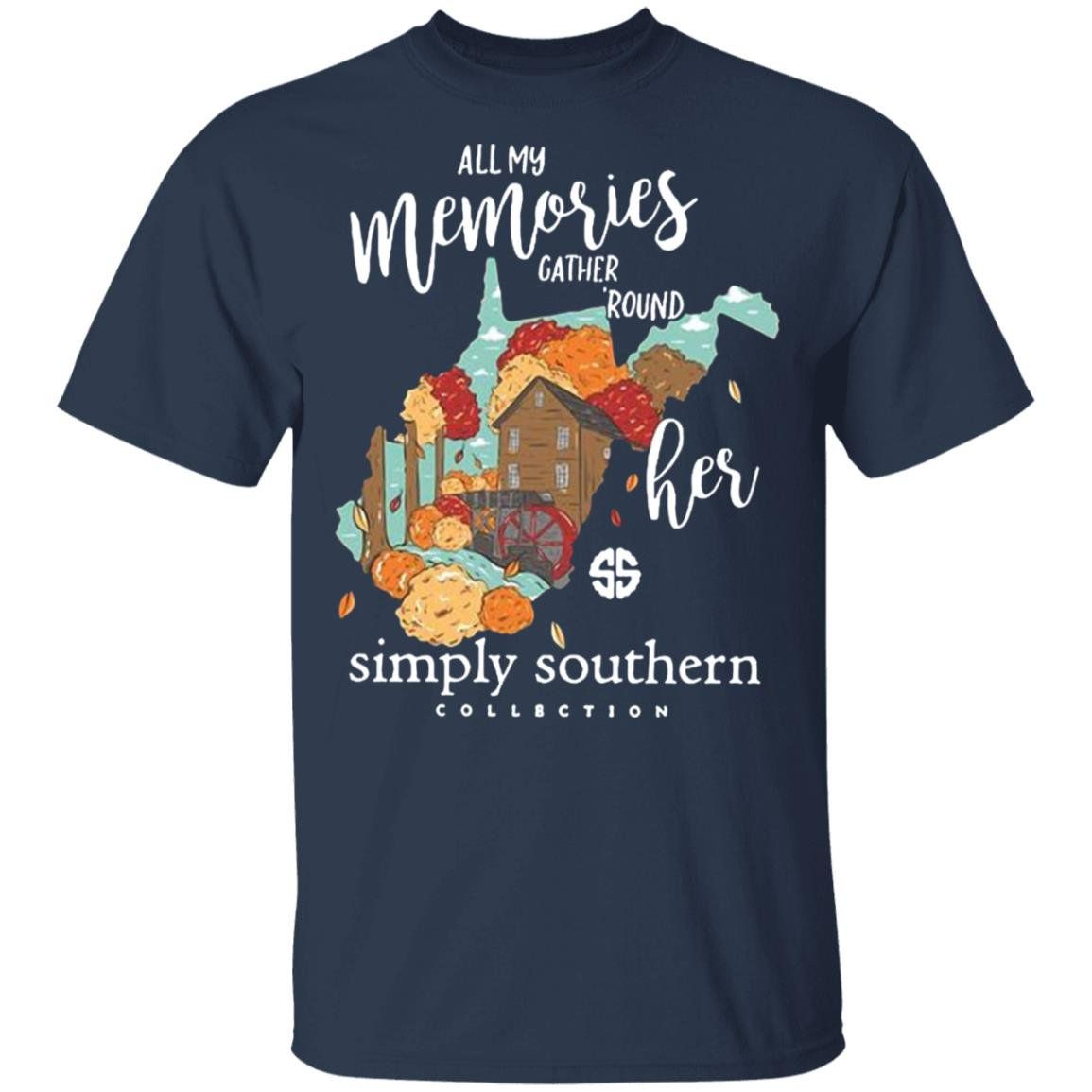 All My Memories Gather Round Her Simply Southern Collection Navy S Shirts