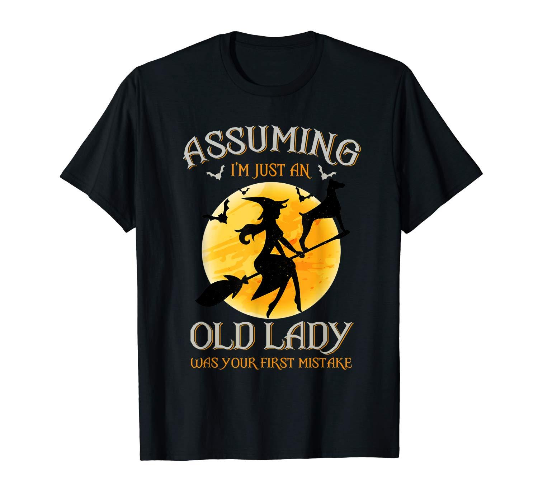 Assuming I M Just An Old Lady Halloween Tshirt Doberman Dog