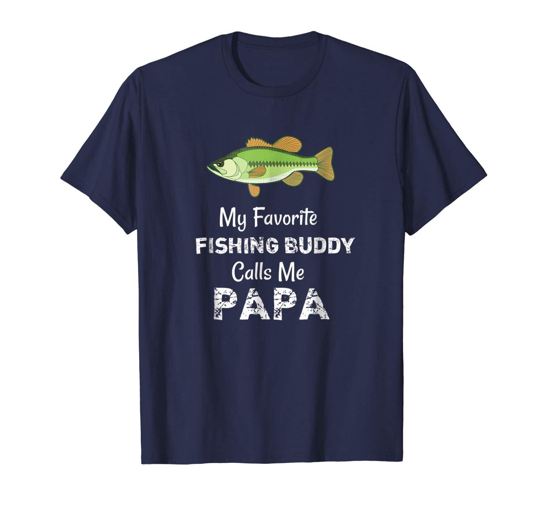 Awesome My Fishing Buddy Calls Me Papa Tshirt Grandpa Gift