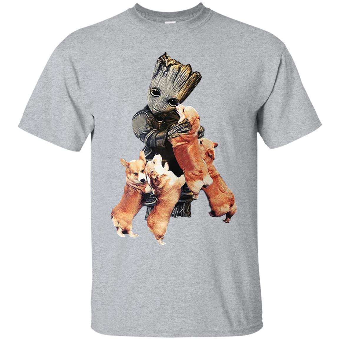 Baby Groot Hug Corgi Shirts