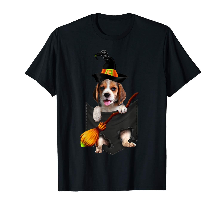 Beagle Witch Pocket Halloween Dog T Shirt
