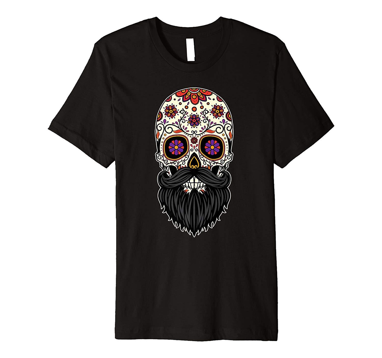 Beard Day Of The Dead Funny Halloween Sugar Skull Premium T Shirt
