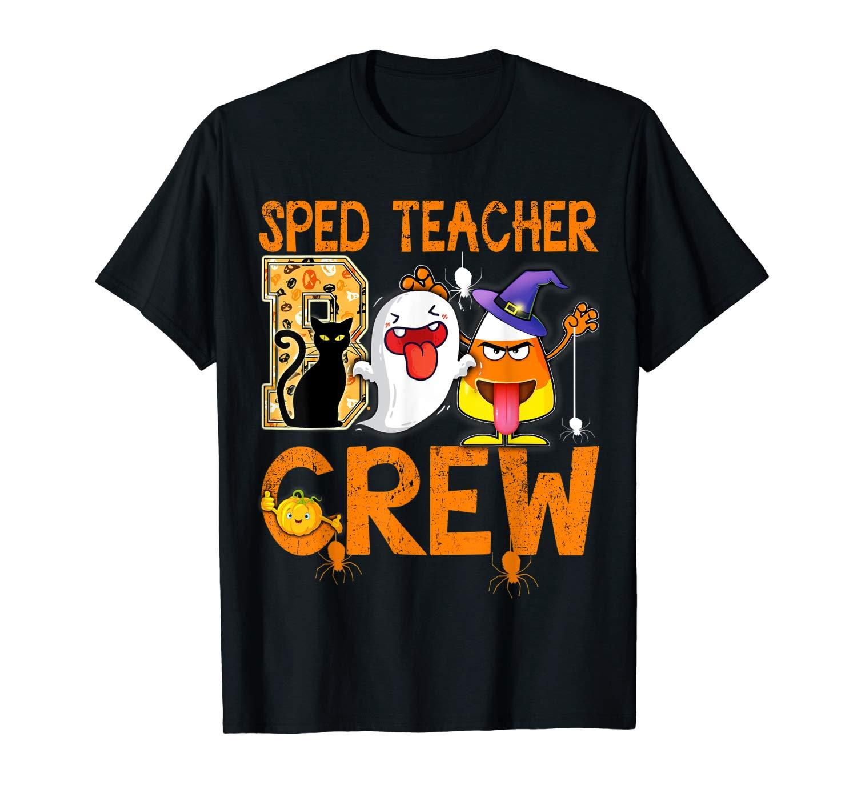 Black Cat Pumpkin Candy Ghost T Shirt Sped Tea Boo Crew