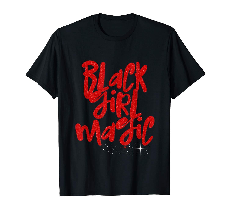 Black Girl Magic Red African Queen Melanin Stars Shirts