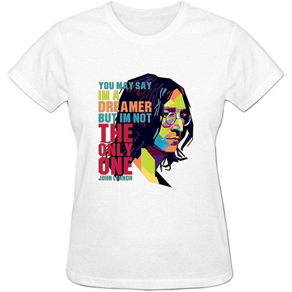 Blacksoul Women S John Lennon Imagine Short Sleeve Crew Neck White Shirts