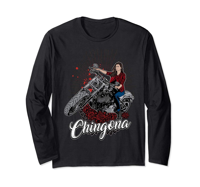 Chingona Chula Biker Latina Motorcycle T Shirt