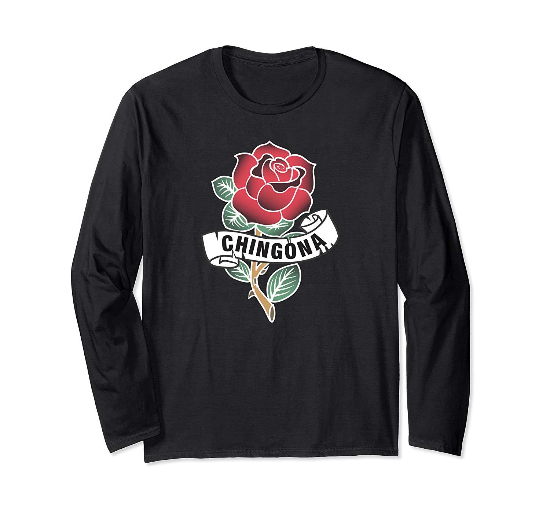 Chingona Red Rose Tattoo Style T Shirt