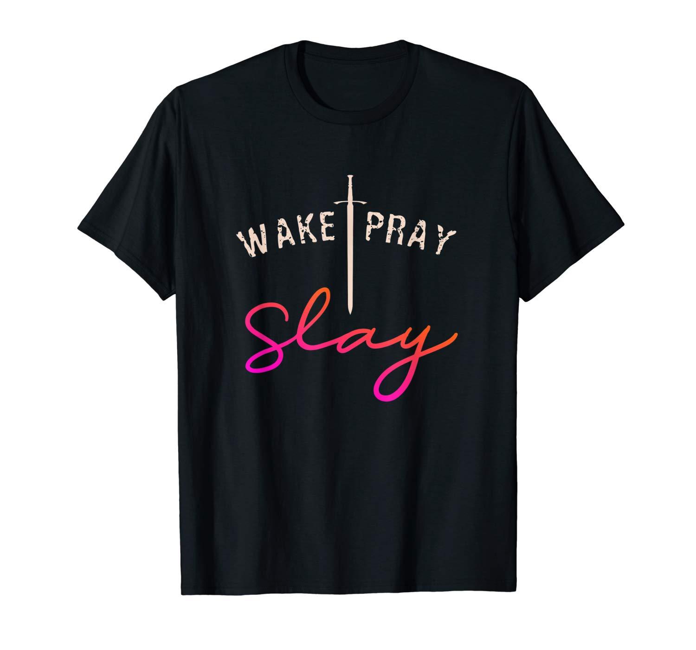 Christian Shirt Wake Pray Slay Arrow God Gift Tshirt Pink