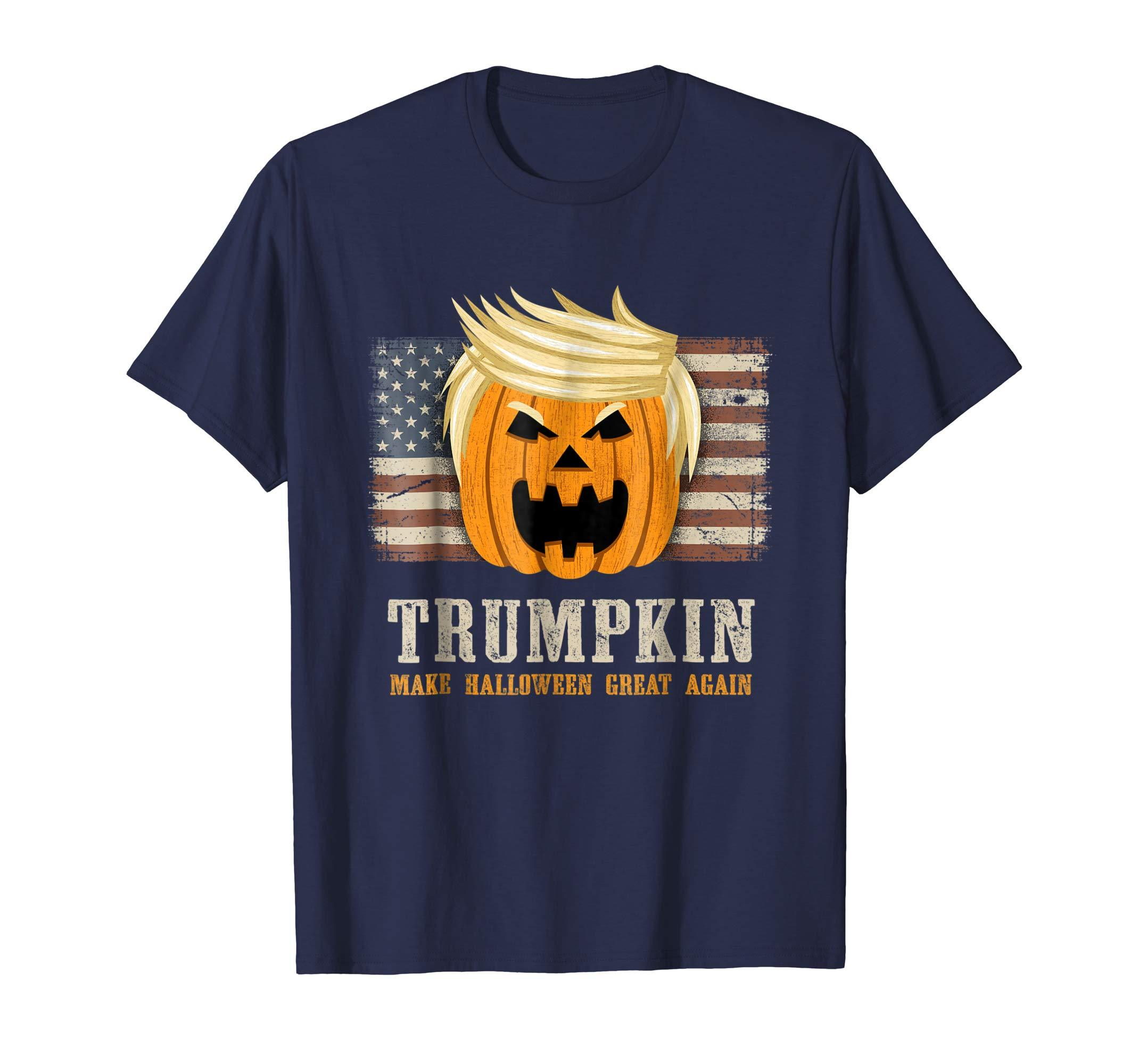 Cover Your Body With Amazing Halloween Trumpkin Vintage Us Flag Funny Trump T Shirt Many T