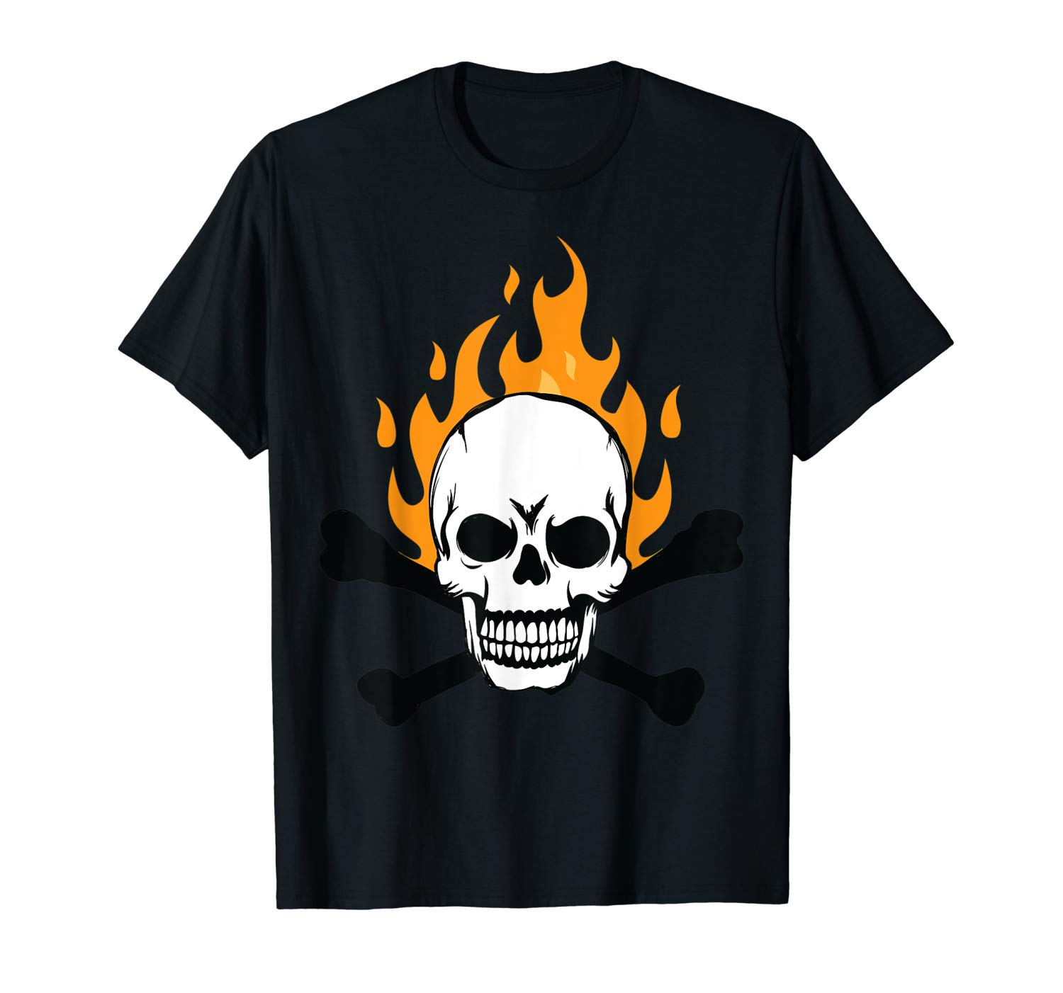 Crazy Sugar Skull With Flame T Shirt Nice For Bikers