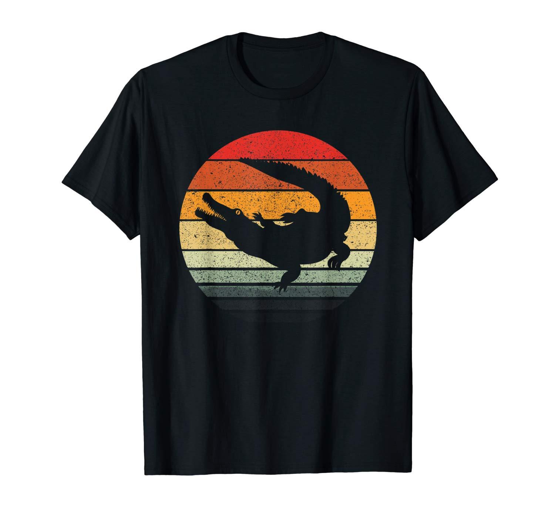 Crocodile Vintage Sunset Retro T Shirt Art