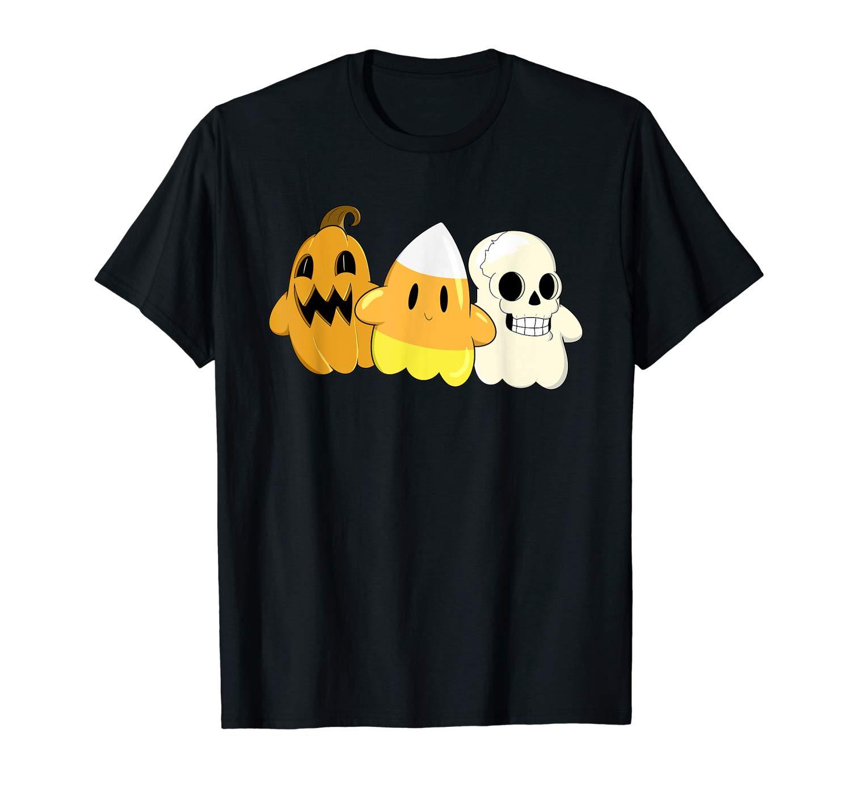 Cute Pumpkin Candy Corn Skeleton Ghosts Halloween T Shirt