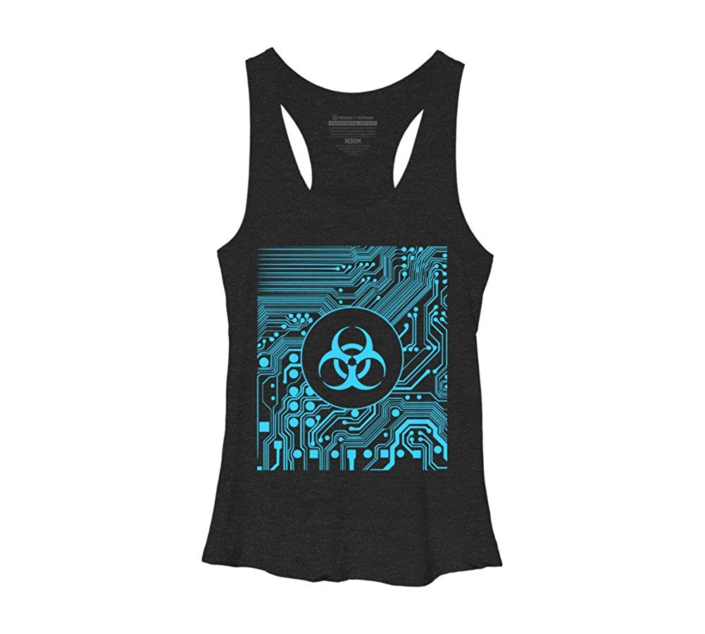 Cyber Goth Biohazard Blue Racerback Tank Top Shirts