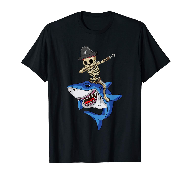 Dabbing Skeleton Pirate Riding Shark Halloween T Shirt Gift
