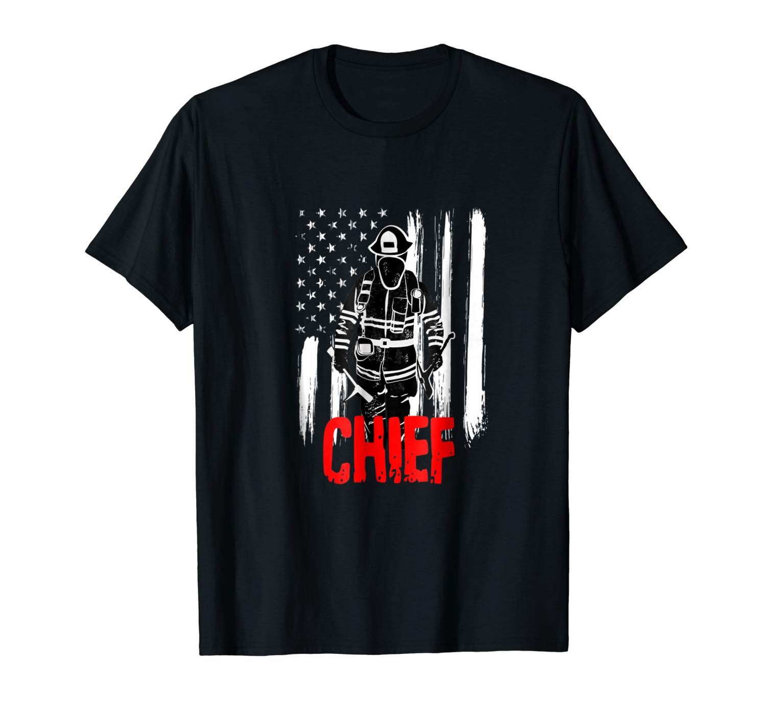Fire Chief Firefighter Fireman In Turn Out Gear Flag Shirts