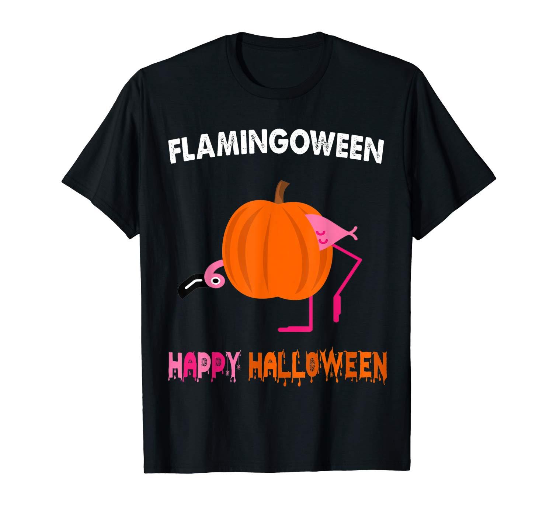 Flamingween Happy Halloween Cute Pumpkin Flamingo Gifts T Shirt