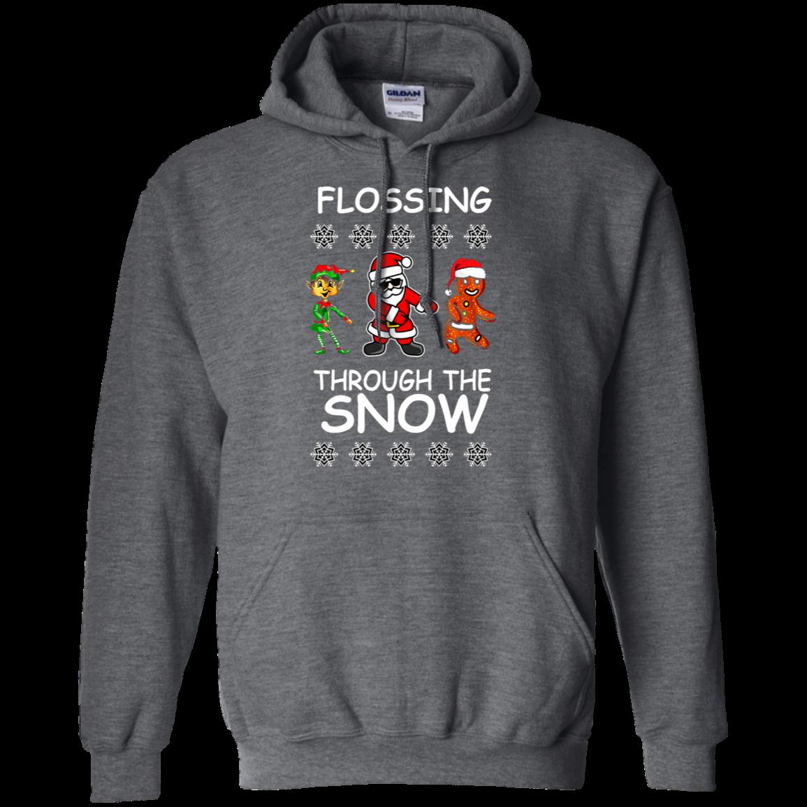 Flossing Through The Snow Christmas Shirt G185 Pullover 8 Oz