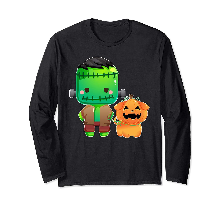 Frankenstein And Pumpkin Dog Halloween Gifts T Shirt