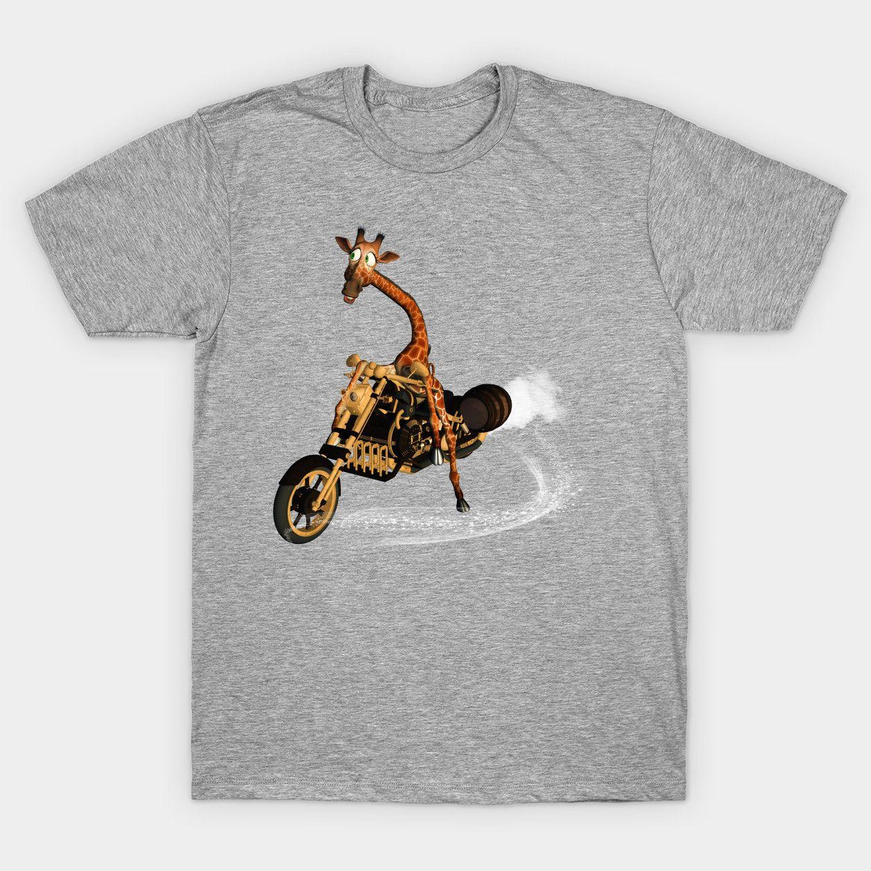 Funny Giraffe Giraffe Animal Cartoon Drive Motorcycle Fun Classic Shirts
