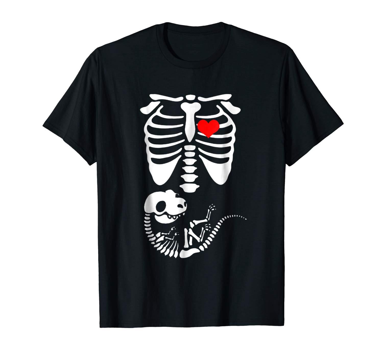 Funny Halloween Dinosaur Skeleton Pregnancy T Shirt Gift