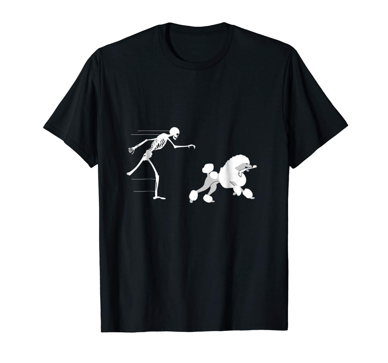 Funny Halloween Skeleton Leg Poodle T Shirt