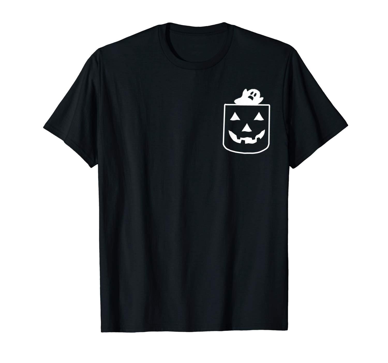 Funny Jackolantern Pumpkin Pocket Ghost Scary Boo Halloween T Shirt