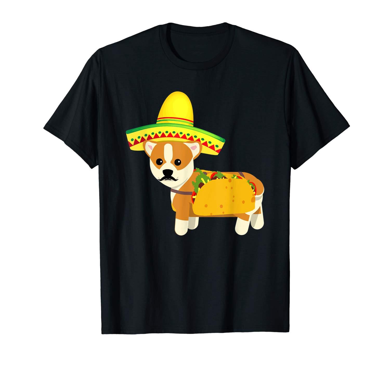 Funny Mexican Corgi Taco Cinco De Mayo Fiesta Dog Tshirt