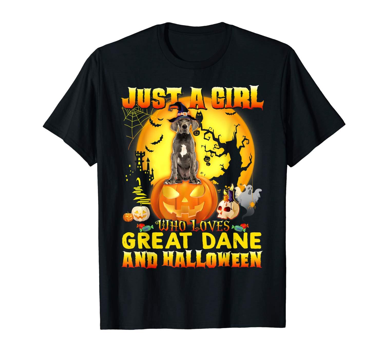 Great Dane Halloween Shirt Gift Just A Girl Love Dog