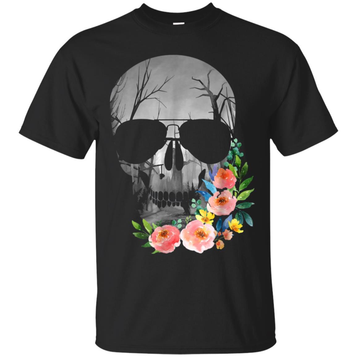 Halloween Flowered Skull T Shirt Bright Colors