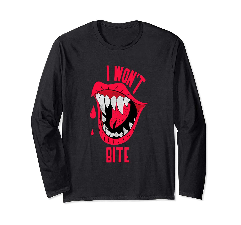 Halloween I Won T Bite Shirts Red Lips Scary Vampire Graphic T Shirt