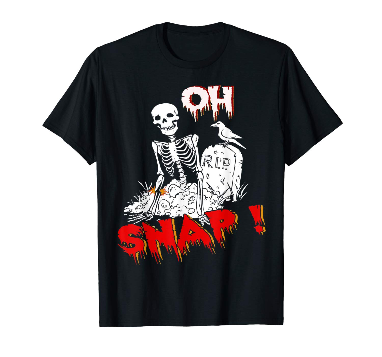 Halloween Oh Snap Skeleton Broken Leg Graphic Horror Funny T Shirt