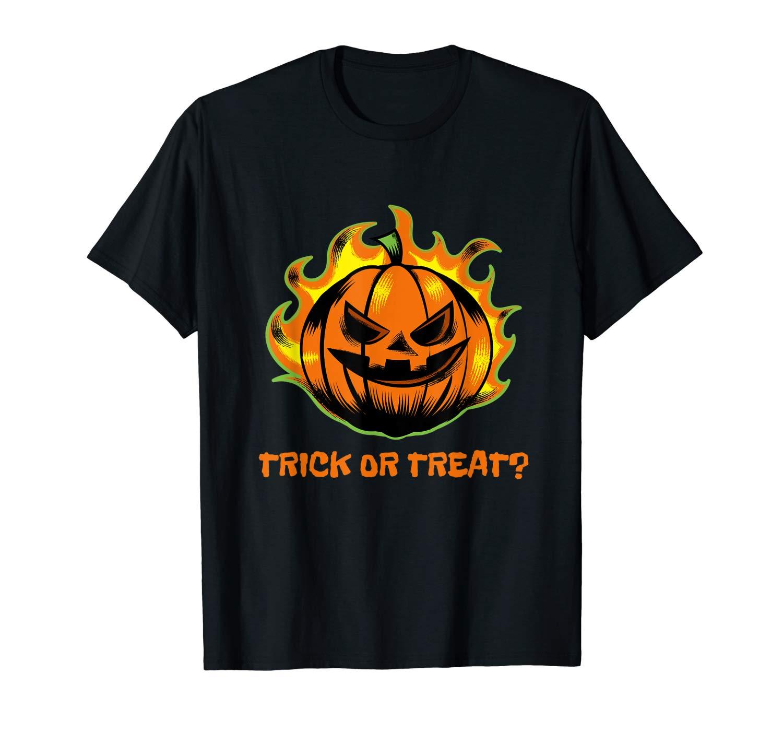 Halloween Shirt Trick Or Treat Tee Halloween Flaming Pumpkin T Shirt