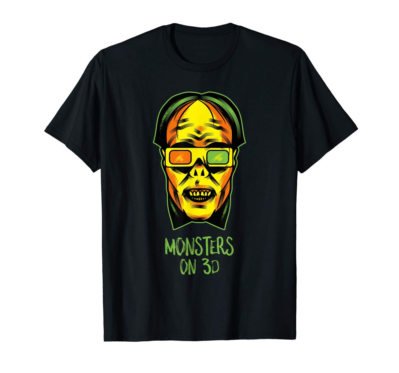Halloween Shirts Monsters On 3d Funny Halloween Movie Night T Shirt