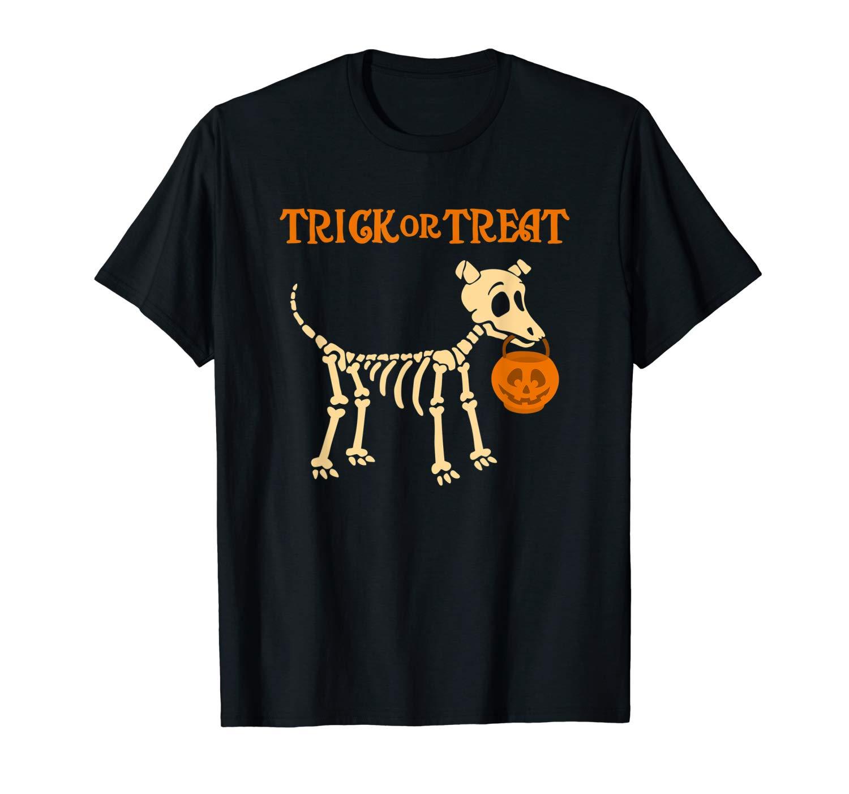 Halloween Skeleton Dog Shirt Trick Or Treat T Shirt