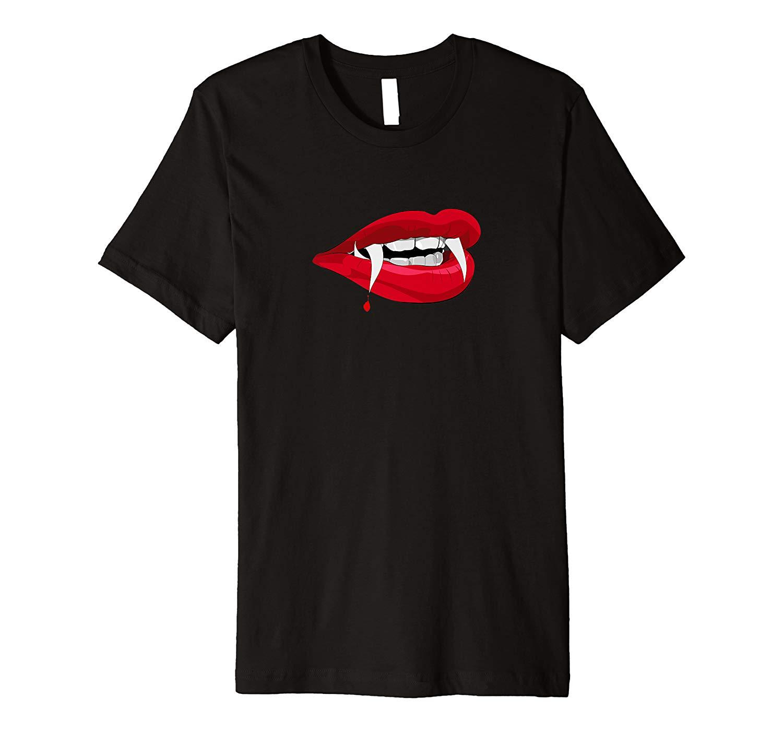 Halloween Vampire Teeth Red Lips Premium T Shirt