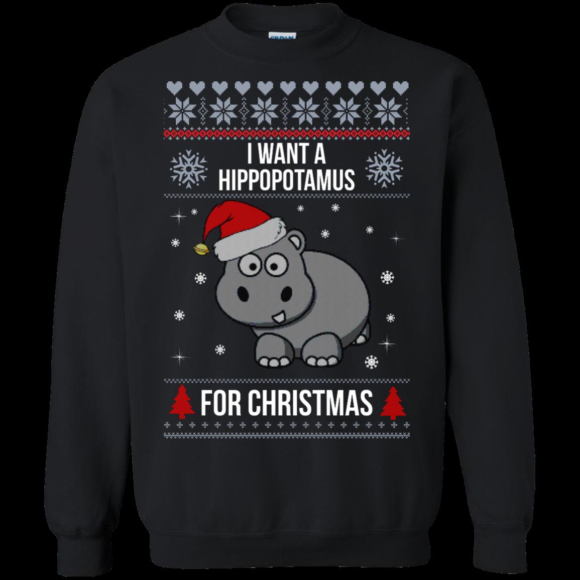 Hippopotamus Christmas Sweater I Want A Hippopotamus For Christmas Shirts