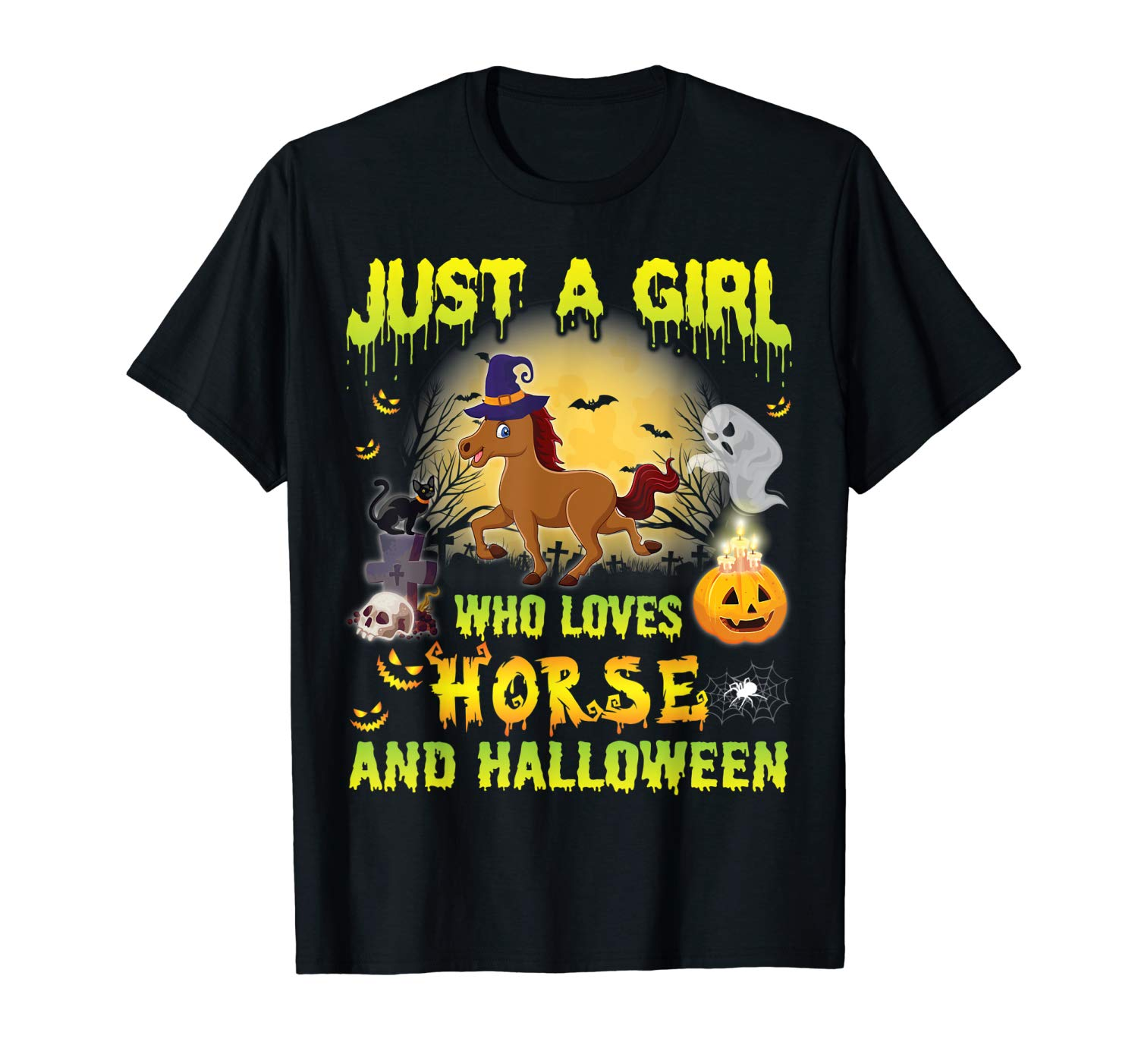 Horse Witch Just A Girl Who Loves Horse And Halloween Shirt